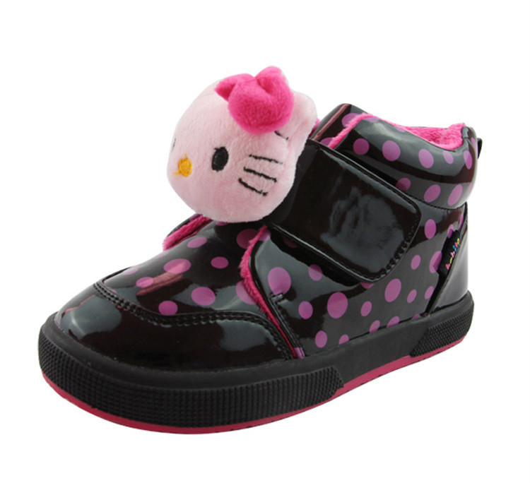 Female-Winter-warm-snow-boots-for-girl-Freeshipping-Short-mid-calf-Hello-Kitty-Plush-shoes-kids