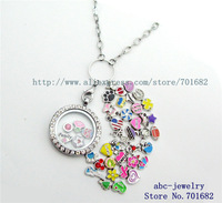 30mm round glass living floating locket can put in floating locket charms Copy Stainless steel 10pcs magnetic rhinestone