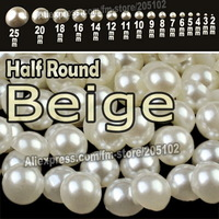 Beige White Half Round Flatback Pearls , mix sizes 2mm-25mm all sizes for choice , ABS imitation pearl beads Plain color