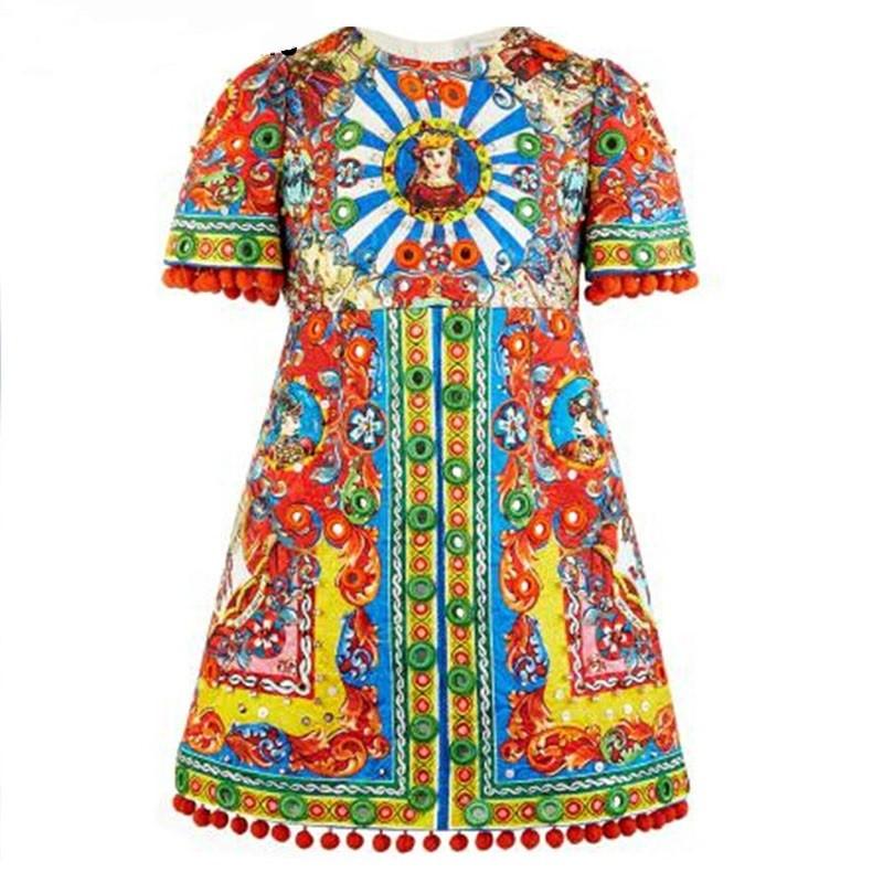 Girls-Dress-2016-Brand-Designer-Dobby-Children-Dress-Princess-Costume-Carretto-Siciliano-Pattern-Kids-Dresses-for