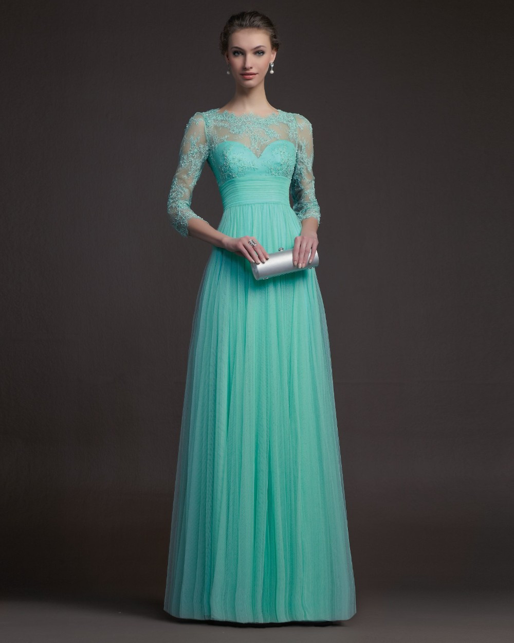 Free Shipping Turquoise Tulle Long Elegant Lace Evening Dress With Sleeves Prom Formal Gown Sarah Bridal 2014 New Arrival
