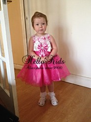 2014 Fashion Girl Princess Dress Hot Pink Color Girls Flower Dresses Infant Party Dress Baby Clothes