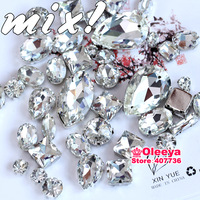 Fancy crystal rhinestone! 500pcs/lot Mix sizes Sew On Rhinestones Flatback With metal claw Sewing  Crystal Stones button Y3030