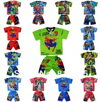 Retail 1pc New pajama sets Clothing Set kid's boys Cartoon superman cars summer Printing children t shirts+pants suit GLZ-T0076