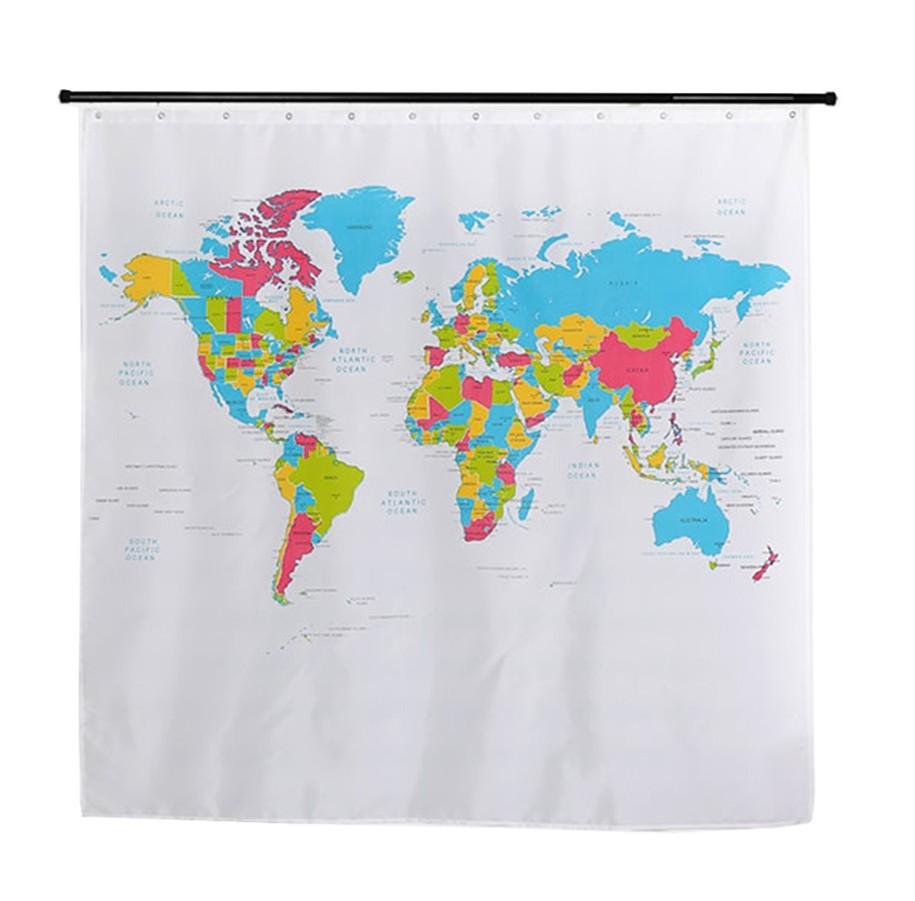 -Bath-Curtain-World-Map-Waterproof-Mildew-Resistant-Polyester-Bathing-Bathroom-Curtain-12-Hooks-180-180cm