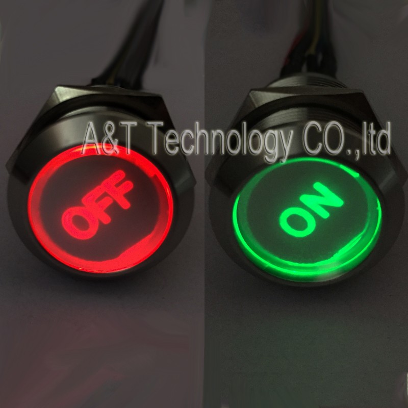 22 double led round red-off green-on button 004