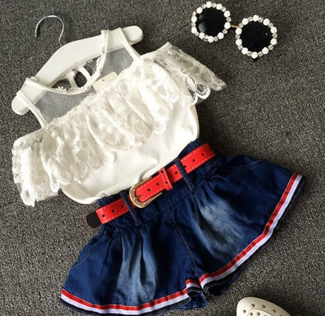 EMS-DHL-Free-Shipping-Toddler-Girls-2pc-Suit-Lace-Tops-Jean-Skirt-Summer-2pc-outfit-Children