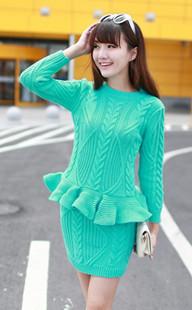 green sweater dress set