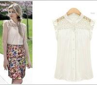 2015 New Womens lace crochet Blouses ZA* Chiffon floral Sheer OL Top Shirt Blouse Sleeveless White S M L XL Retail/Wholesale