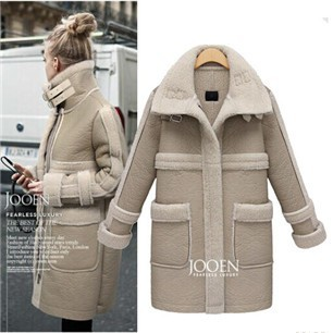 2014-new-hot-selling-Ladies-European-style-suede-lamb-s-wool-stitching-thick-padded-coat-jacket