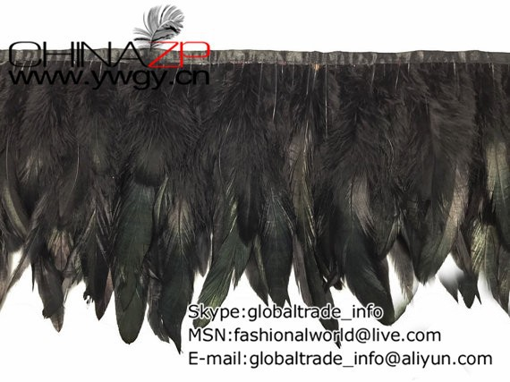 Rooster Trim, 1 Yard - BLACK Rooster Half Bronze Schlappen Feather Trim2