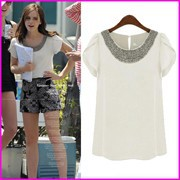 2014-Summer-New-Women-Blouses-European-American-Style-Sweet-Manual-Bead-Butterfly-Short-Sleeve-Chiffon-Tops