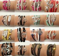 new Infinity Hallows love Deathly Alloy Charms Leather Wax Rope Cuff Bracelet As Gift For Friend or Family