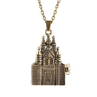 Hot Movie Jewelry Vintage Castle Necklace Can Open Box Frame Pendants Zinc Alloy Sweater Chain for Women ZJ-0903465