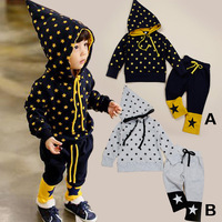 In stock! Retail 2014 New Autumn Children Star Print Clothing Sets Baby Boy Hooded Suits 2pcs/set LittleSpringGLZ-T0348