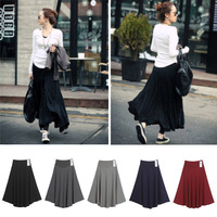 New big skirt irregular thick solid full slim hip skirt women casual spring summer pleated long skirts 5 Colors