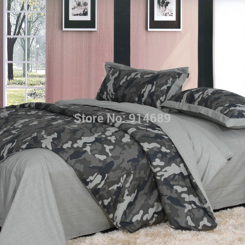Home-black-and-gray-Camouflage-100-cotton-100-piece-cotton-bed-set