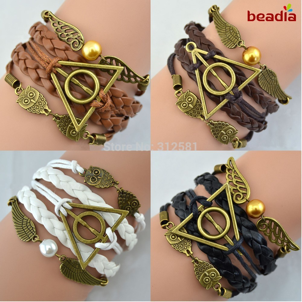 2015-Hot-sale-Multilayer-Leather-Harry-Potter-magic-Hallows-Bracelet-Bangles-Factory-Price-Wholesales-Or-Retail