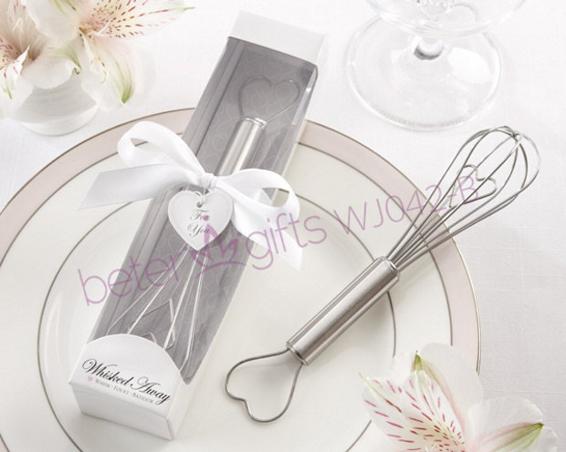"""Whisked Away"" Heart-Shaped Stainless-Steel Whisk in White Box"