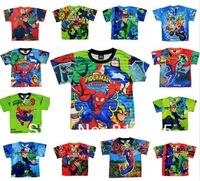 Retail 1pc Boy Summer T-shirt Children short-sleeve top kid cartoon tee ben10 spiderman clothes LittleSpring GLZ-S0078