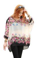X.99 Hot Summer Women Bohemian Blouse Plus Size Batwing Sleeve Chiffon Blouse Loose Shirt Floral Casual Tops Free Shipping
