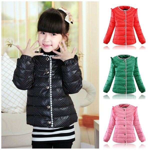 New-2014-Winter-Down-Coats-And-Jackets-For-Children-Girl-Short-Lace-Top-Light-Windproof-Fabrics