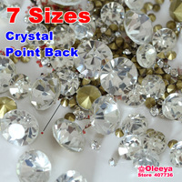 Mix Sizes! 7 Sizes Crystal Clear 1440pcs Point Back Rhinestones Glass Strass Chaton Stone SS6 SS8 SS10 SS12 SS16 SS20 SS29 Y3019