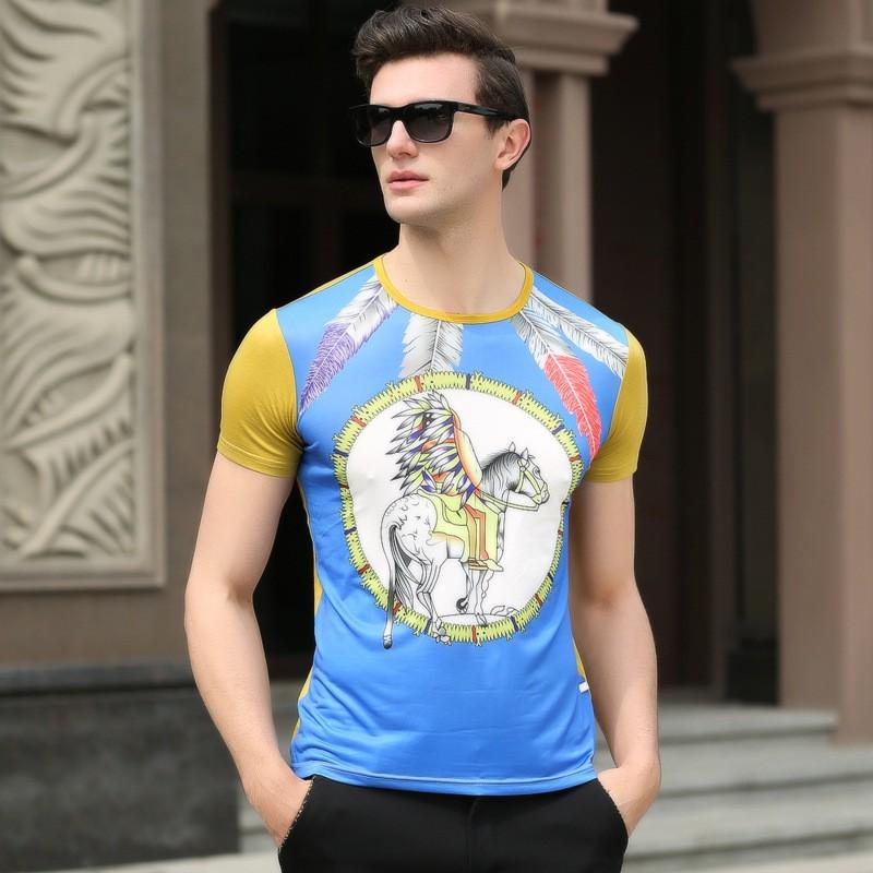 2016-summer-new-Silky-Cotton-men-s-short-sleeved-digital-palace-print-round-neck-T-shirt