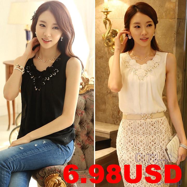 Cheap-Fashion-Women-Shirt-2014-New-Crew-Neck-Sleeveless-Golden-Sequin-Flower-Ruched-Chiffon-Blouse-Summer