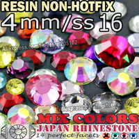 4MM SS16,Mix Colors Nail Crystals 3000pcs/bag Resin Non HotFix FlatBack Rhinestones,Not Hot Fix Glitters strass Glue on stones