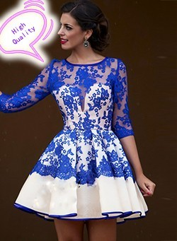 Sexy-Cocktail-Dresses-Fashion-Blue-Appliques-Ruched-Taffeta-party-dress-With-Three-Quarter-short-evening-cocktail_conew1