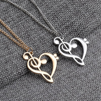 All-match Fashion sweet cute personality musical note long necklace sweater chain love Heart notes Necklace Free shipping