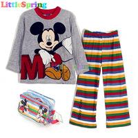 Original Velvet Set + Great Pacakge Mickey Minnie kids pajamas children sleepwear Pyjamas cartoon night suit clothes GLZ-T0314