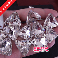 Top Quality ! Big Size! 50pcs 23mm Triangle Pointback Sew on Glass Crystal Rhinestones Crystal Clear Sewing on stone