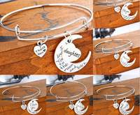 I love you to the moon &back Family Gifts Mom Friend Sister Bangle Best Gift Bracelets Sweet Love Heart Charm Bracelet & Bangle