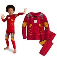 hot sale 2014 cartoon Iron Man cosplay costume long sleeve children pajama sets,toddler baby kids pijama sleepwear