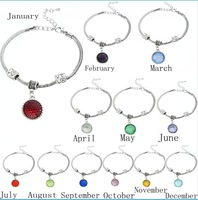 2016Newest 12 Colors Crystal Birthstones bracelet 15*18mm Dangle Pendant Fashion Jewelry bracelet sky chains mobile phone straps