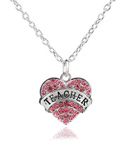 Women Lady Clear Blue Pink Crystal Heart Lettering Words Engraved Teacher Pendant Necklace Jewelry Christmas Teachers' Day Gift