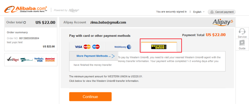 how to pay with western union on alibaba