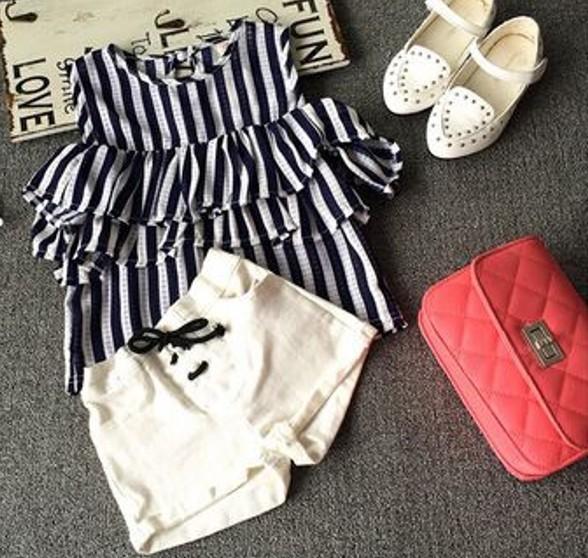 DHL-EMS-Free-shipping-Kids-Toddlers-Children-princess-Black-White-Stripe-Suit-T-Shirt-Summer-Shorts