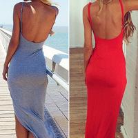 Free Shipping Sexy Sleeveless Backless Dress Women Halter Spaghetti Straps V-neck Dress Maxi Party Dresses