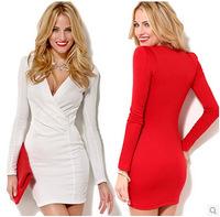 2014 new Euramerican style fashion sexy female deep V-neck long-sleeved package hip mini dress bodycon dress solid Femininas