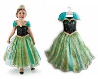 2014 new frozen elsa costume girls dress,short sleeve sequined frozen princess girls dress Retail Frozen children dress