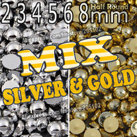 Mix Silver & Gold Half Round Flatback Pearls , 2mm 3mm 4mm 5mm 6mm 8mm loose imitation ABS pearl beads for DIY Nail Art Phone