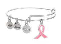 Fashion bracelets hope love hope ribbon Adjustable Pendant Bracelet Cuff Bangles Jewelry For Women and female