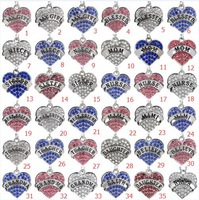 New Styles Fashion Women Lady Rhinestone Crystal Heart Engraved Mimi Pendant Necklace Chain Jewelry Gifts Wholesale