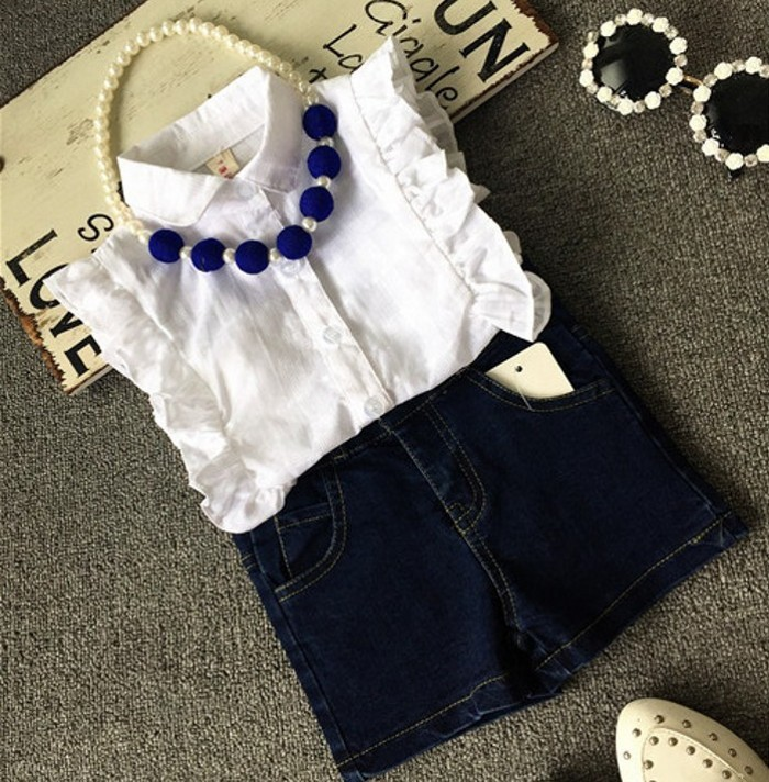 EMS-DHL-Free-Shipping-Toddler-Girls-2pc-Suit-WhiteTops-Denim-Shorts-Summer-Style-2pc-outfit-Kids