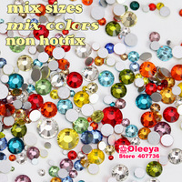 Mix Size Mix Color Non Hot Fix Rhinestones Nail Art Rhinestones Glitters Flat Back Glass Not HotFix  Approx 500pcs/lot