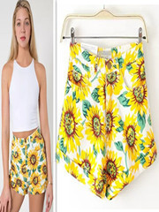 New-Fashion-2014-Summer-Fall-Sunflowers-Print-high-waist-shorts-Women-Denim-Sexy-Shorts-Yellow-Free