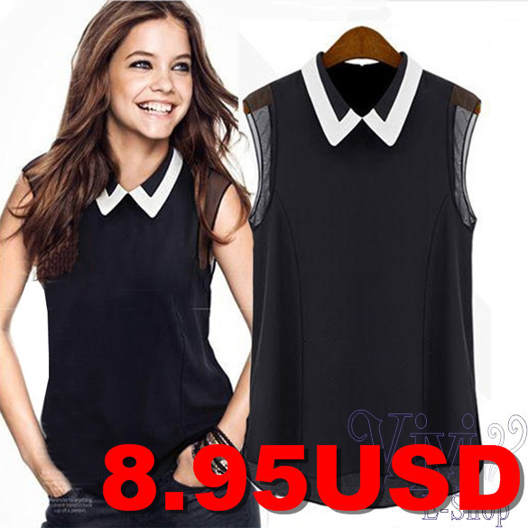 New-Women-Celeb-Style-Splicing-Slim-Fitted-Casual-Blouse-for-Summer-Chiffon-Sweet-Peter-Pan-Collar